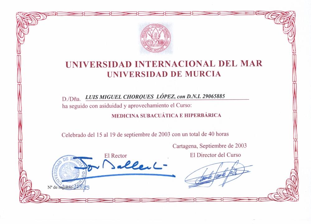 CURSO DE MEDICINA SUBACUÁTICA E HIPERBÁRICA
