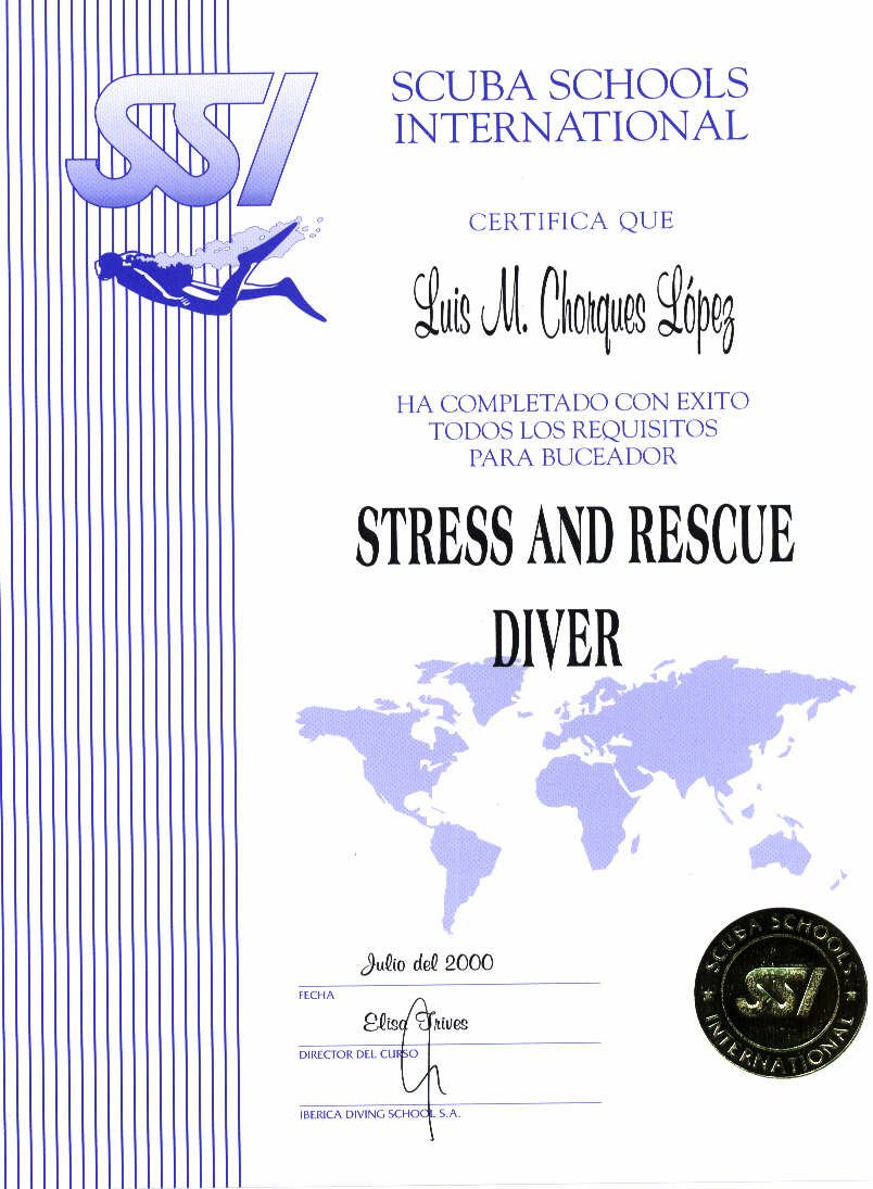 SSI  STRESS AND RESCUE DIVER